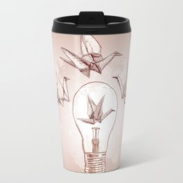 Origami paper cranes and light Travel Mug