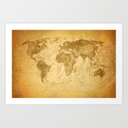 Old vintage map of the world Art Print