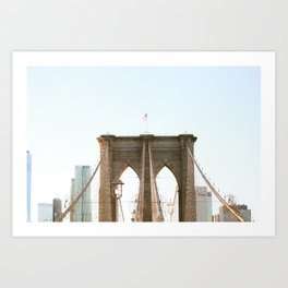 An Afternoon Stroll along the Brooklyn Bridge Art Print