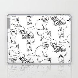 Minimal Black Line Cat Pattern Laptop & iPad Skin