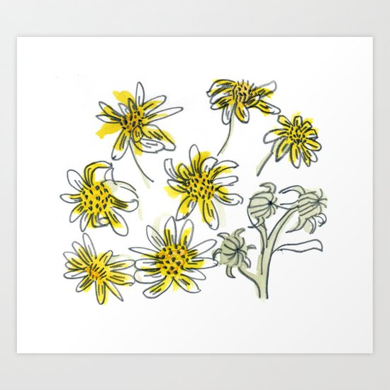 Manx Flora #3 - Scruffy Yellow Art Print