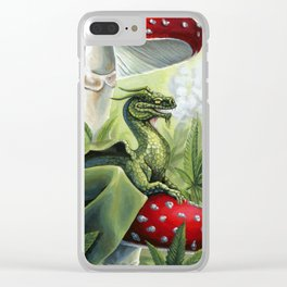 Smoking Dragon in Cannabis Leaves Clear iPhone Case