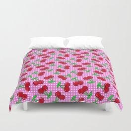 Rockabilly Pink + White Gingham & Cherries Duvet Cover