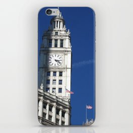 Chicago Clock Tower, American Flags iPhone Skin