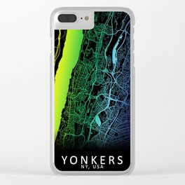 Yonkers, NY, USA, City, Map, Rainbow, Map, Art, Print Clear iPhone Case