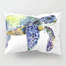 Sea Turtle, Beach Art, Nautical Aquatic Underwater Scene Blue Green Turtle Pillow Sham