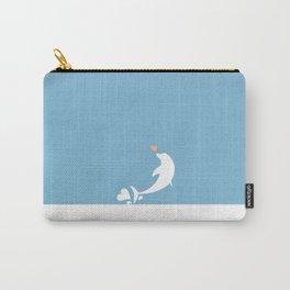 Ocean Dolphin Blue Heart Love Carry-All Pouch