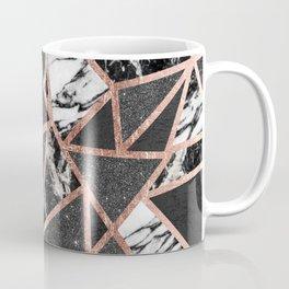 Modern Rose Gold Glitter Marble Geometric Triangle Coffee Mug
