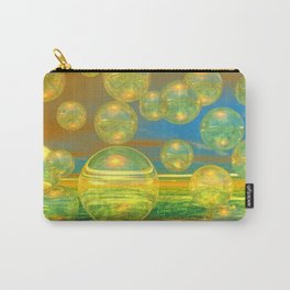 Golden Days, Abstract Yellow and Azure Tranquility Carry-All Pouch