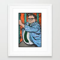 snl Framed Art Prints featuring SNL Chris Farley as Matt Foley by Portraits on the Periphery