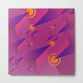 Colorful Pink And Purple Abstract Geometric Design Pattern Metal Print