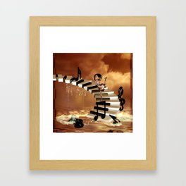 Cute little girl dancing on a piano Framed Art Print