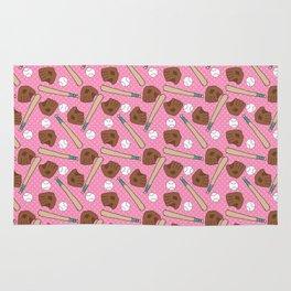 Girl baseball pattern on a pink background Rug