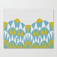 Modern Day Arches Blue and Yellow Canvas Print