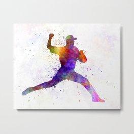 Baseball player throwing a ball Metal Print