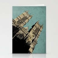downton abbey Stationery Cards featuring Westminster Abbey by sinonelineman