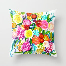 Bright Colorful Floral painting Throw Pillow
