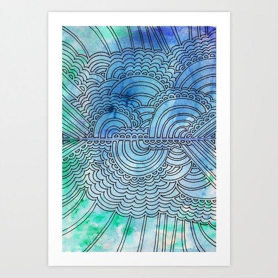 Water & Color Drawing Meditation Art Print
