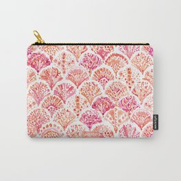 CORAL CAMO Mermaid Watercolor Fish Scales Carry-All Pouch