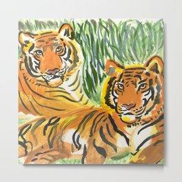 Lounging Tigers Metal Print