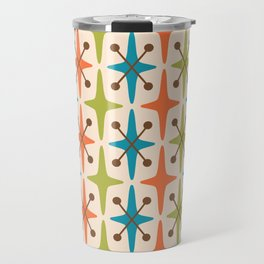 Mid Century Modern Abstract Star Pattern 441 Orange Brown Turquoise Chartreuse Travel Mug
