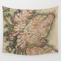 scotland Wall Tapestries featuring Vintage Map of Scotland (1814) by BravuraMedia
