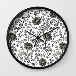 Floral Lace (black on white) Wall Clock
