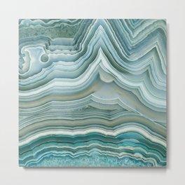 Agate Crystal Blue Metal Print