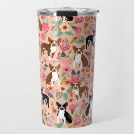 Boston Terrier cute floral pattern spring summer happy pet portrait dog person gift must haves dogs Travel Mug