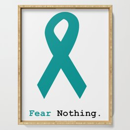 Fear Nothing: Teal Ribbon Serving Tray