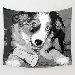 australian shepherd aussie dog puppy vector art black white Wall Tapestry