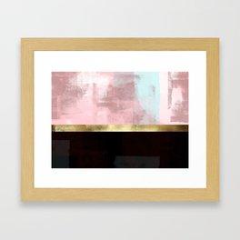 Elegant Pink Minimalism Gold Line Framed Art Print