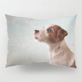 Jack Russell Terrier. Drawing, illustration funny dog Pillow Sham