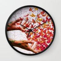 butterflies Wall Clocks featuring Butterflies by Lia Bernini