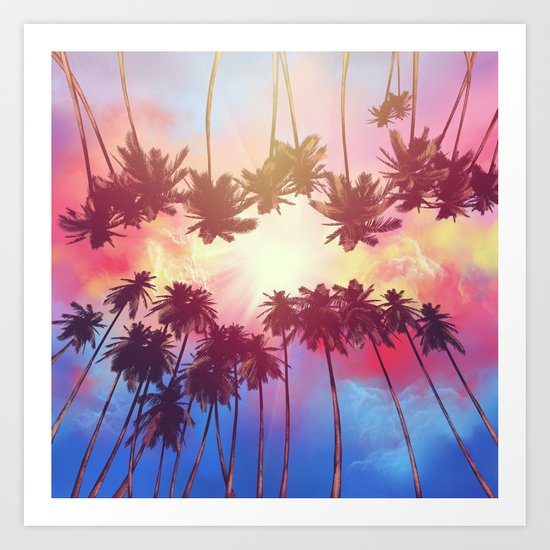 summer sunset palms Art Print
