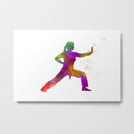 Woman practices karate in watercolor 02 Metal Print