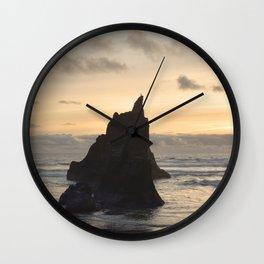 Arcadia Beach Sunset Lion Rock Oregon Coast Pacific Ocean Wall Clock