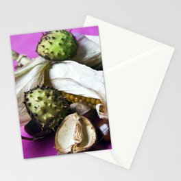Atumnal Still Life with Chestnut and Corn Stationery Cards