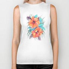 TROPICAL FLOWER {orange hibiscus}  Biker Tank