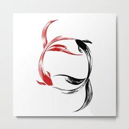 Koi Yin & Yang Metal Print
