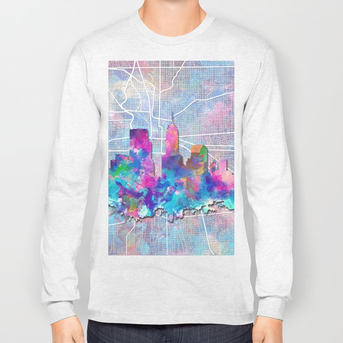 indianapolis city skyline watercolor 2 Long Sleeve T-shirt