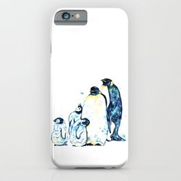 Penguin Family of 5 Watercolor Painting iPhone Case