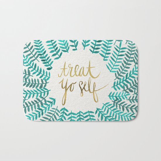 Treat Yo Self – Gold & Turquoise Bath Mat