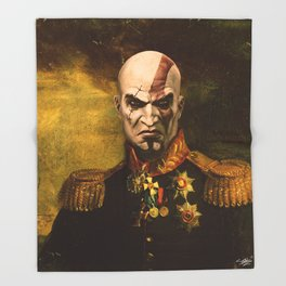 Kratos General Portrait Painting   god of war Fan Art Throw Blanket