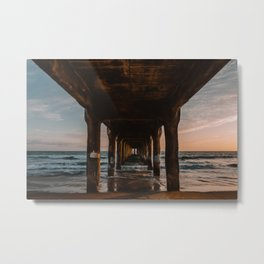 California Pier Sunset Metal Print