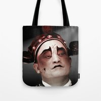 actor Tote Bags featuring Chinese opera (Actor Portrait). by Ian Gledhill