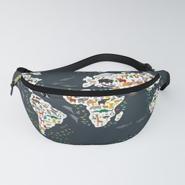Cartoon animal world map for kids, back to schhool. Animals from all over the world Fanny Pack