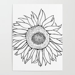 Mother Nature's Genius - Black Outline Graphic Art Poster