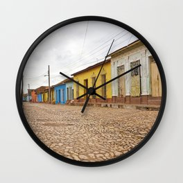 Streets of Trinidad Cuba Cobblestone Stucco Old City Colorful Latin America Caribbean Island Tropica Wall Clock