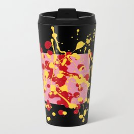 Paint Dance Pink Square Yellow Red on Black Travel Mug